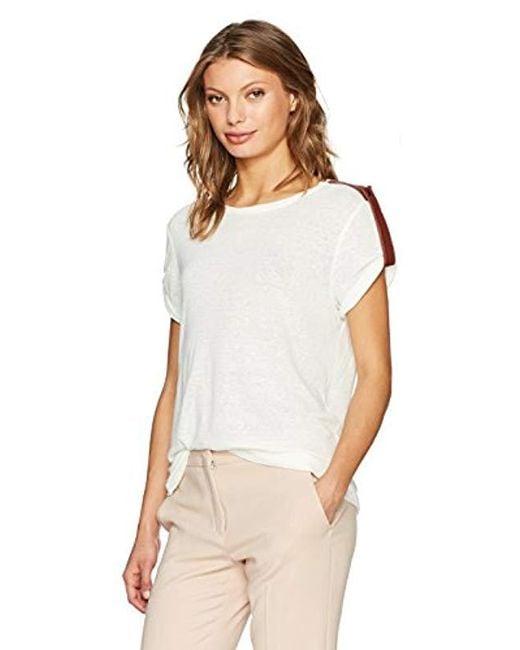 BCBGMAXAZRIA White Cassia Knit T-shirt With Pleather Panels