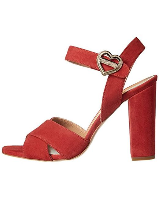 c00ff686b40b ... Love Moschino - Red Metal Heart Buckle Platform Dress Sandal - Lyst ...