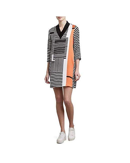 Kenneth Cole - Multicolor V-neck Ribbed Dress - Lyst