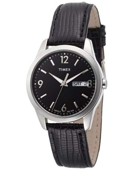 49f3145e Men's T2n353 Analog Silver-tone Case Black Leather Black Dial Watch