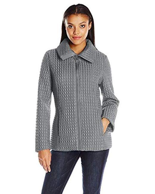 1346c687933 Lyst - Anne Klein Zip-front Quilted Jacket in Gray - Save 28%