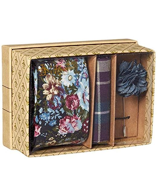 Original Penguin Blue 3-piece Floral Tie, Pocket Square & Lapel Pin Box for men
