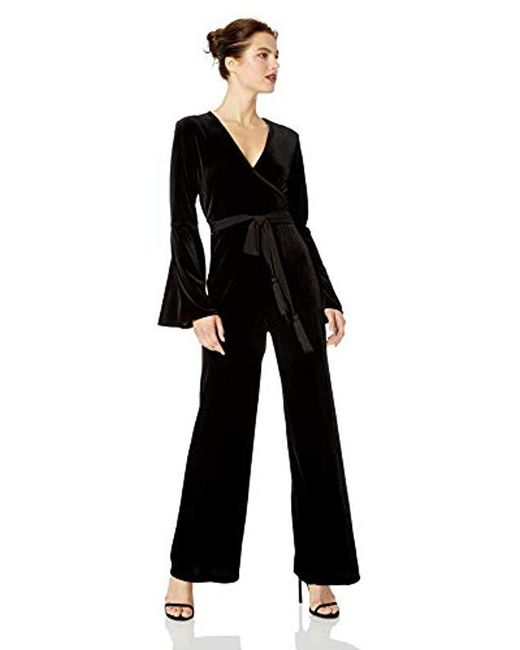 Calvin Klein Black Long Sleeve Velvet Jumpsuit With Surplus Neck