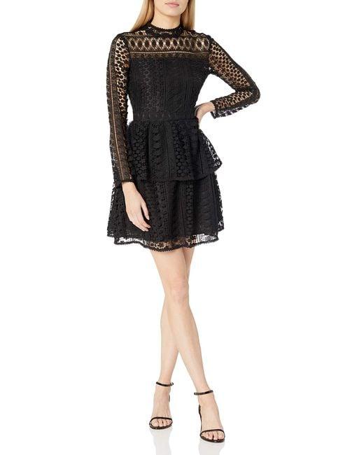 Cupcakes And Cashmere Black Symona Ruffle Lace Dress