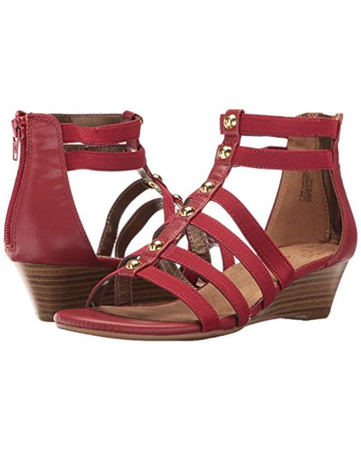 80f7953a6222 Lyst - Aerosoles Awesome Wedge Sandal in Red - Save 21%