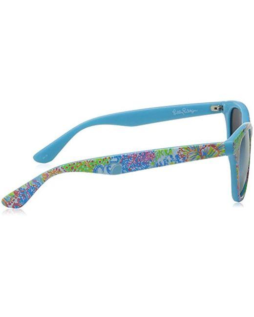e12001896b ... Lilly Pulitzer - Blue Maddie Mddelc52 Polarized Wayfarer Sunglasses -  Lyst ...