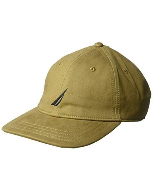 f3e59e5ff406dc Nautica - Green Classic Logo Adjustable Baseball Cap Hat for Men - Lyst ...