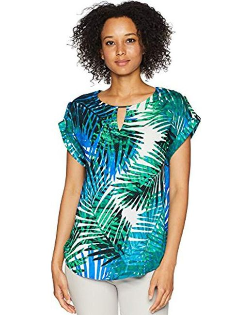 a22002f002b Calvin Klein - Blue Printed Short Sleeve Top With Bar Hardware - Lyst ...