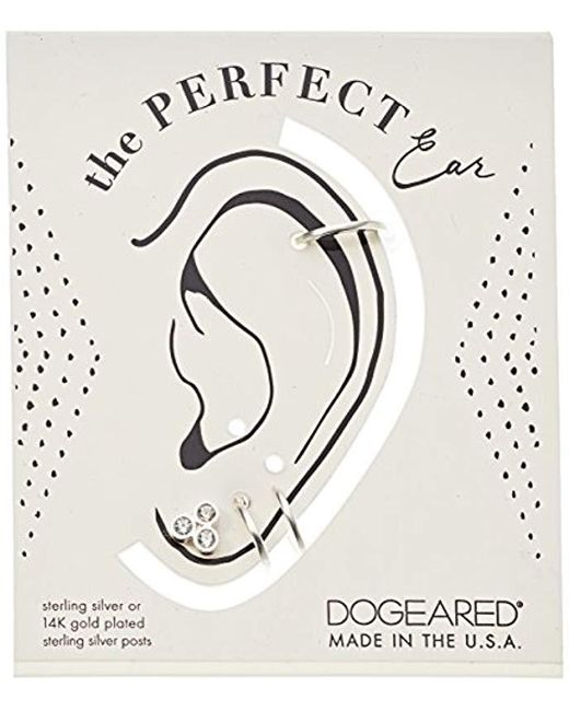 Dogeared - Metallic Sterling Silver The Perfect Ear Pack Of 3 Single Earring Set- Stud/double Loop/smooth Cuff - Lyst