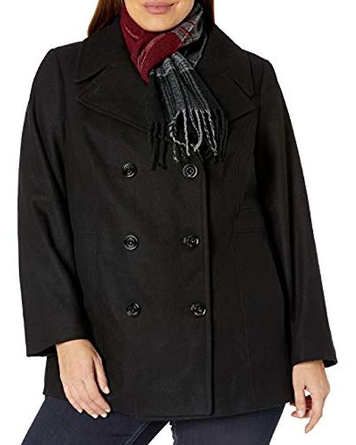 London Fog Black Plus-size Double Breasted Peacoat With Scarf