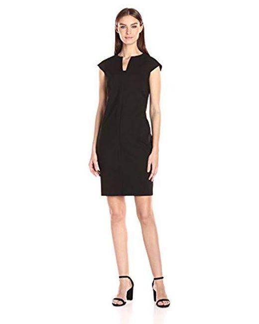 Lyst Calvin Klein Compression Fabric Cap Sleeve Sheath Dress In Black