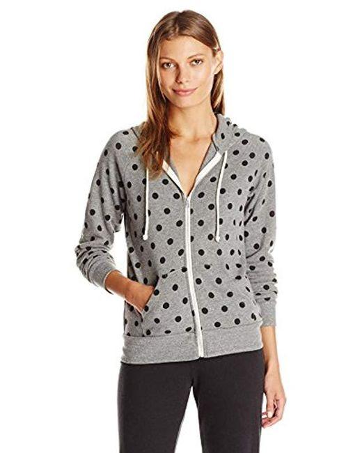Alternative Apparel - Gray Adrian Printed Eco-fleece Zip Hoodie - Lyst