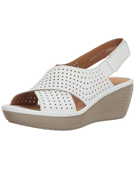 77762777702 Lyst - Clarks Reedly Variel Wedge Sandal in White - Save 31%