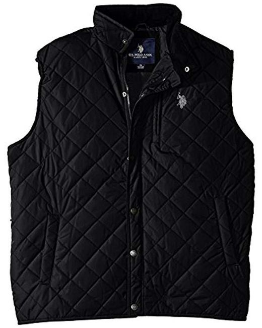 U.S. POLO ASSN. - Black Big-tall Diamond Quilted Vest With Corduroy Collar for Men - Lyst