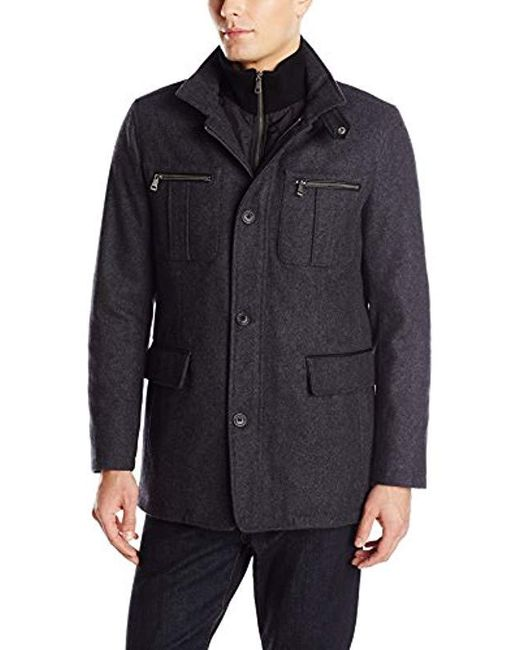 Cole Haan Gray Wool Melton Coat With Nylon Bib for men