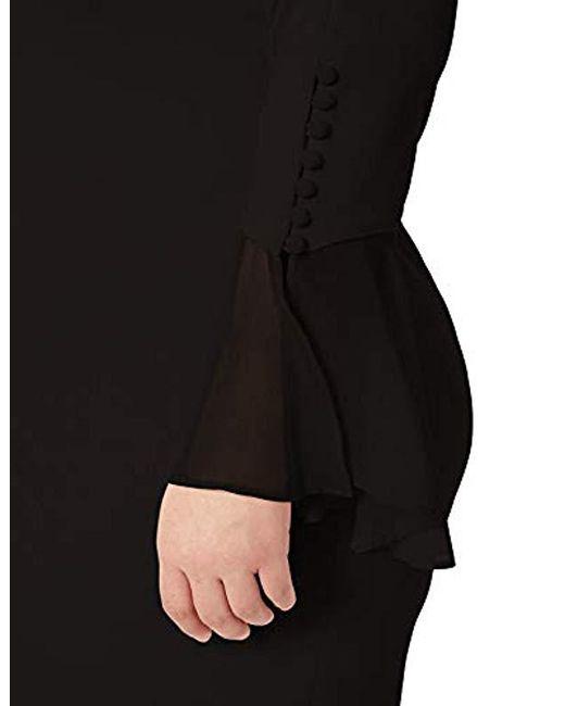 08bcb8bd ... Calvin Klein - Black Plus Size Solid Sheath With Chiffon Bell Sleeves  Dress - Lyst
