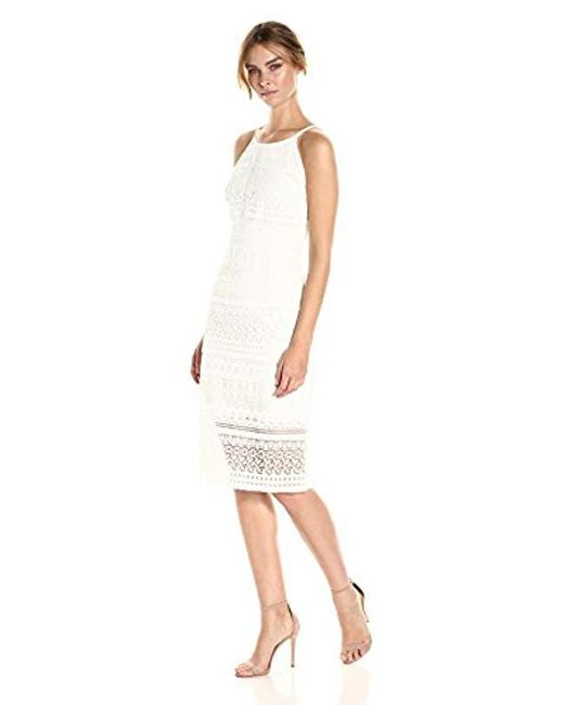 Laundry by Shelli Segal White Fringe Venise Lace Dress