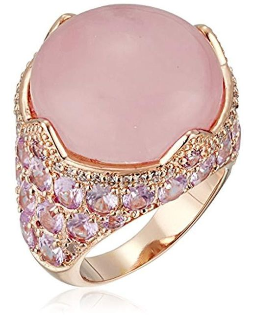 CZ by Kenneth Jay Lane - Multicolor Round/oval Cubic Zirconia Cab Rose Quartz Ring - Lyst