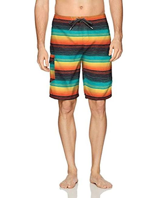 O'neill Sportswear Multicolor 21 Inch Outseam Ultrasuede Swim Boardshort, Turquoise Plaid, 30 for men