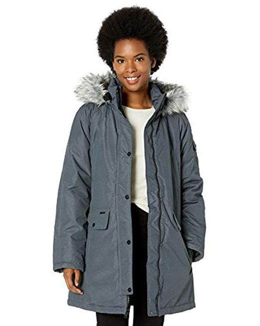 Skechers Gray Warm Winter Coat With Faux-trimmed Hood