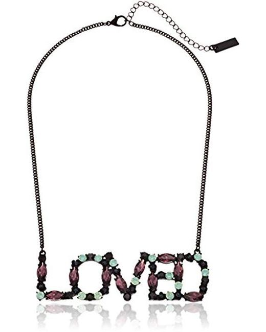 """Steve Madden - Black S """"loved"""" Curb Casted Necklace - Lyst"""