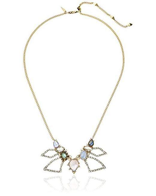 Alexis Bittar - Metallic Crystal Encrusted Abstract Petal Bib With Custom Cut Stones Pendant Necklace - Lyst