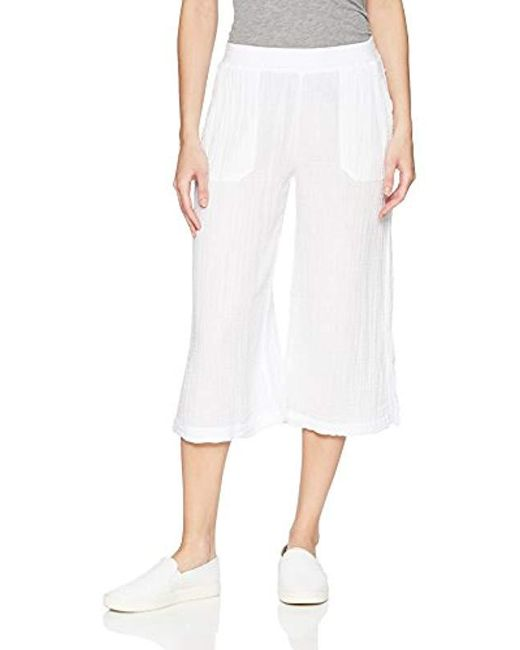 Three Dots - White Double Gauze Mid Loose Pant, - Lyst