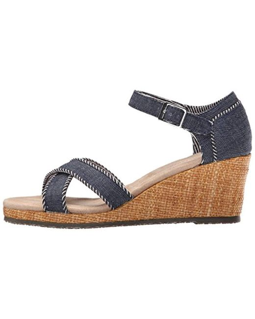 b2077189f3af Lyst - Skechers Cali Monarchs Wedge Sandal in Blue - Save 11%