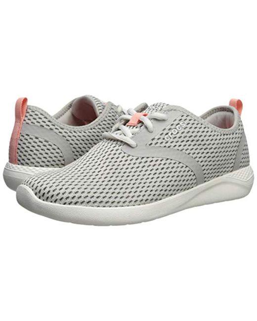 5b0e489556e4 ... Lyst Crocs™ - Literide Mesh Lace (black white) Women s Shoes ...