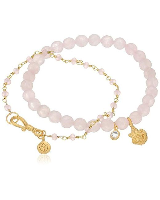 Satya Jewelry - Multicolor Rose Quartz Ganesha And Pink Chalcedony Lotus Stretch Bracelet - Lyst
