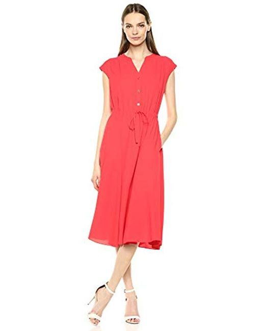 Anne Klein Red Cap Sleeve Drawstring Midi Dress