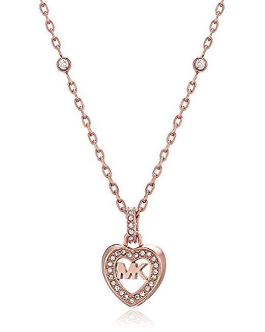 Michael Kors - Metallic S Heart Pendant Necklace, One Size - Lyst