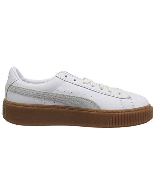 new style 8af02 406e0 Women's White Basket Platform Euphoria Gum Sneaker