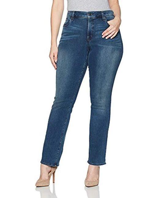 NYDJ - Blue Plus Size Marilyn Straight Jeans In Smart Embrace Denim - Lyst