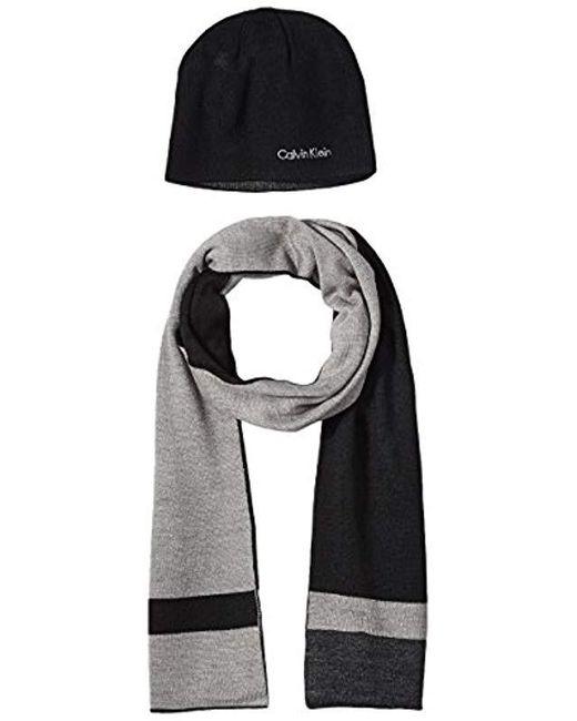 Calvin Klein - Black Hat And Scarf Set for Men - Lyst