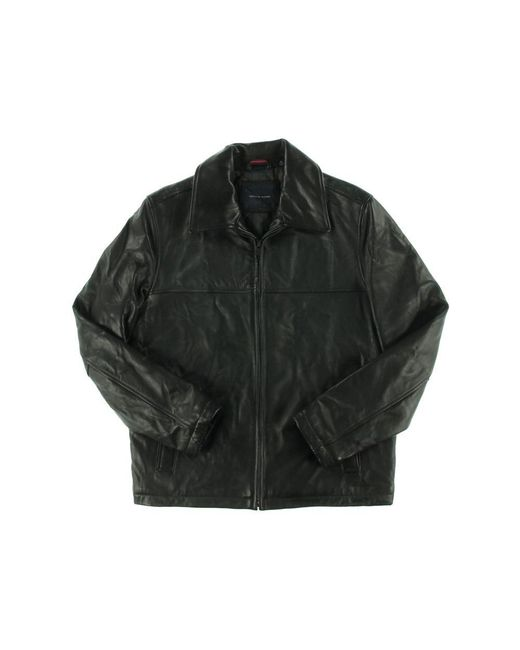 Tommy Hilfiger Mens Smooth Lamb Leather Laydown Collar James Dean Jacket