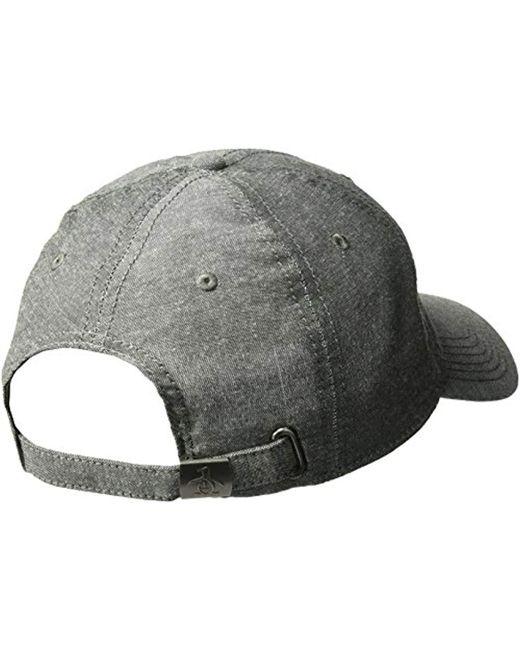 2fe0d47375d6b ... Original Penguin - Black Chambray Baseball Cap for Men - Lyst ...