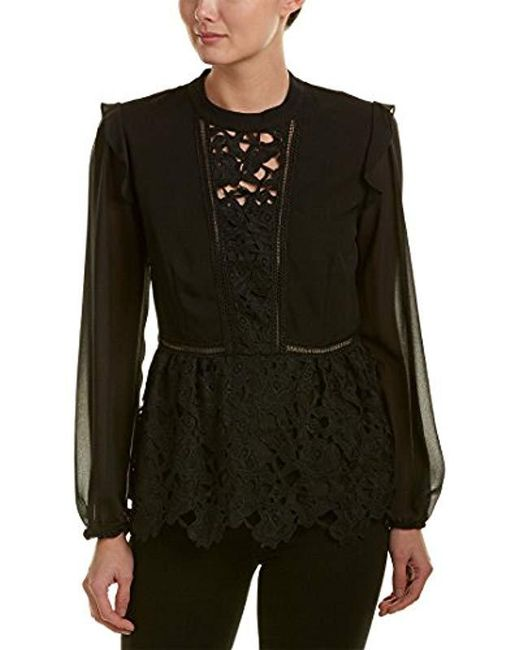 Kensie - Black Smooth Stretch Crepe Floral Lace Ruffle Top - Lyst