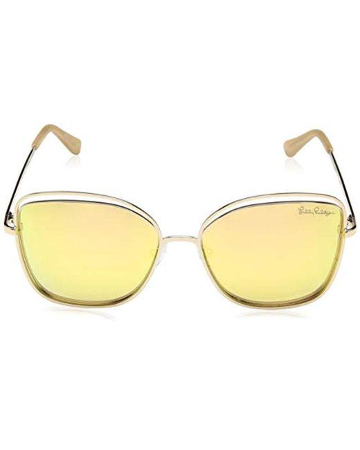 6a7bc02732 ... Lilly Pulitzer - Metallic Nina Polarized Square Sunglasses Shiny Gold  56 Mm - Lyst ...