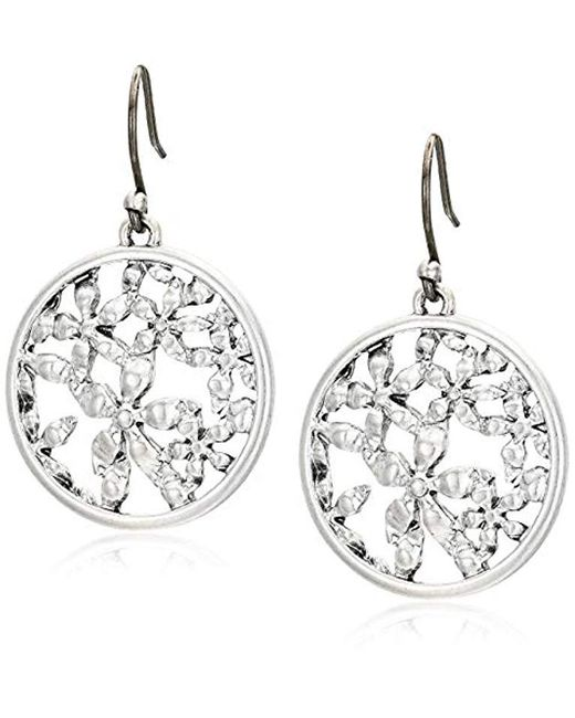 Lucky Brand - Metallic Floral Openwork Coin Drops Earrings - Lyst