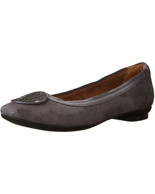 Clarks Candra Blush Flat in Grey Suede