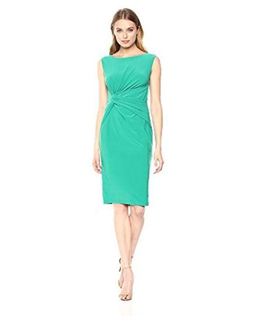 Adrianna Papell Green Matte Jersey Sheath Dress