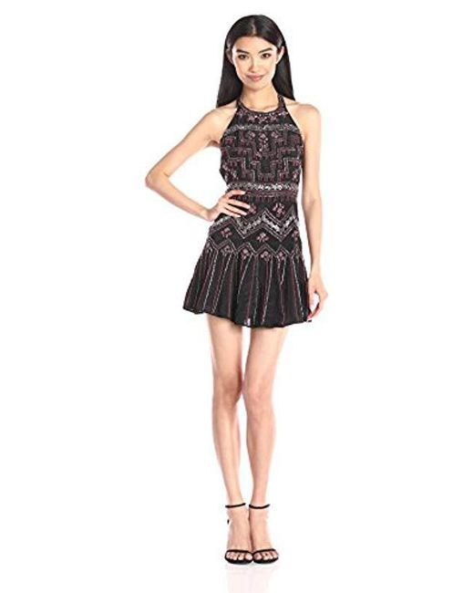 Parker - Black Leona Beaded Halter Dress - Lyst