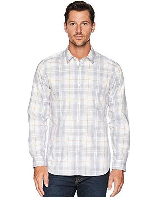 b45b9fc134c Calvin Klein - White Long-sleeve Button Down Plaid Shirt for Men - Lyst ...