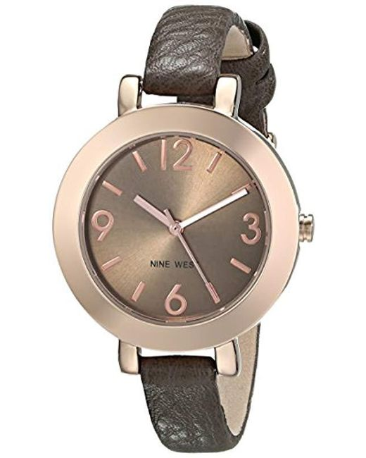 Nine West Rose Goldtone Case With Brown Strap Watch