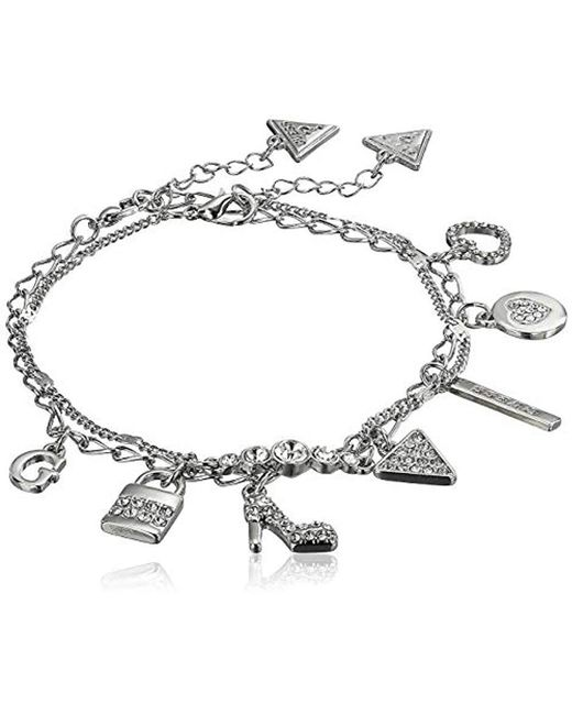 Guess - Metallic Two-piece Anklet Set With Stones And Charms - Lyst