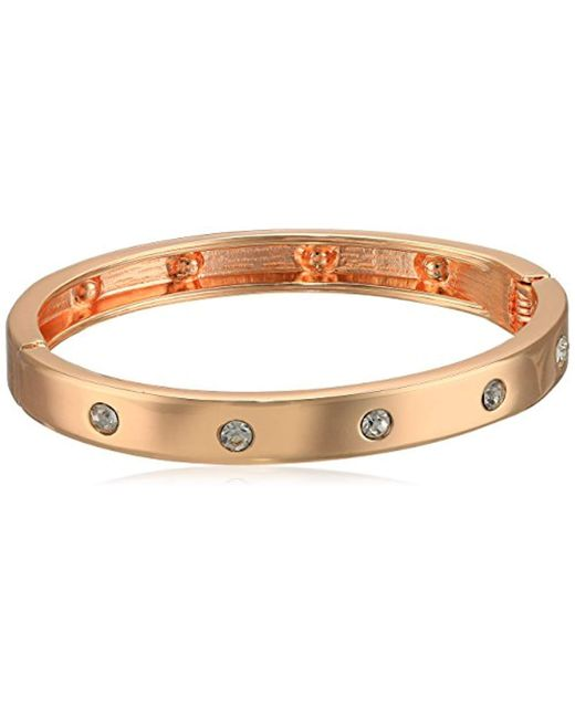 Guess - Metallic Hingle Bangle W/ Crystal Accents (rose Gold/crystal) Bracelet - Lyst
