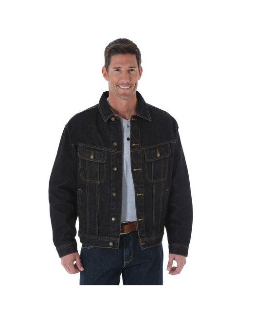 Wrangler Black Big And Tall Rugged Wear Unlined Denim Jacket for men