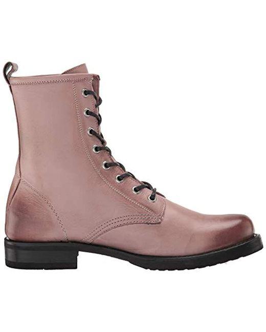 5c72a353a50 Women's Purple Veronica Leather Combat Block Heel Booties