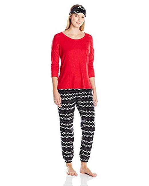 Kensie Black Long Pant, Long-sleeve Top, And Eye Mask Three-piece Pajama Set